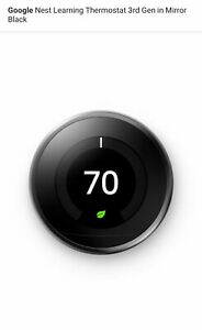 Google Nest Learning Thermostat 3rd Gen in Mirror Black T3018US