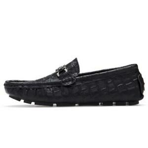 Men's New Fashion alligator Print Leather Driving Moccasins Penny Loafers Shoes