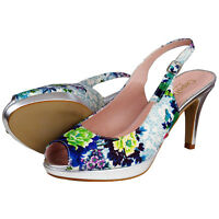 RRP - £89 Top Brand Womens Ladies Floral High Heels Sandals Wedding Party Shoes
