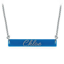 Engraved Acrylic Nameplate Bar Necklace - Personalized (USA Seller)