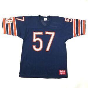 Vintage 90s Chicago Bears #57 Olin Kreutz Mens L Football Jersey Blue Orange
