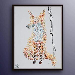 "Fox Painting 40"" animal painting on canvas, original handmade, impasto style"