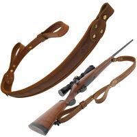 Cowhide Leather Rifle Sling with Handle, Shotgun Straps with 1 QD Swivels