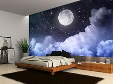 Night Sky Moon Clouds Dark Stars Wall Mural Photo Wallpaper GIANT WALL DECOR