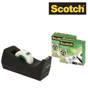 Scotch Tape Dispenser + 3 Rolls Magic Tape 19mm x 33m