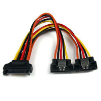 15-Pin Male to 2x 15-Pin Female SATA Power Cable Splitter with Metal Clip