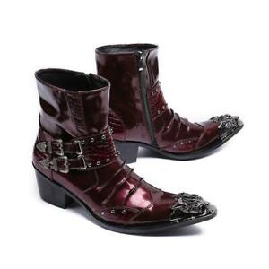 Men's Shoes Leather Business Formal Floral Punk Rivet Buckle Strap Ankle Boots