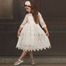 Princess Lace Pleated Dress Up Kids Flower Girl Formal Christmas Costumes Party