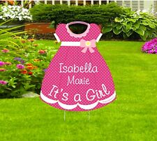 It' s a New Baby Girl Lawn Announcement Stork Sign Decoration Yard Art Display