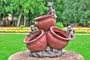 3 Gartendrachen auf Blumentopf - Gartenfigur Skulptur Statue