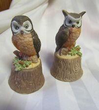 Vintage 1979 Enesco Christmas Owl on Stump Fine Porcelain Dinner Bells New 2 lot