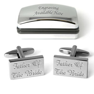 Father Of The Bride Cufflinks Personalised Wedding Present Engraved Gift Box