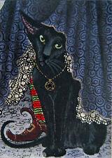 ACEO Oriental Black Cat con strega dipinto stampa dall' originale Suzanne le buone