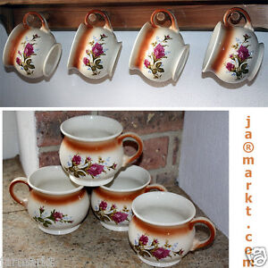 BECHER - 4 Stück - Tassen aus Keramik - Tee- u. Kaffeebecher  mit  Rosen Motiv