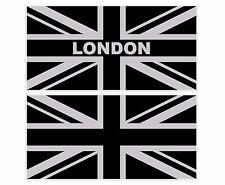 "LARGE SILVER + BLACK UNION JACK FLAG UK 300mm x 150mm 12"" x 6"" DECAL STICKER"