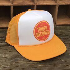 Tower Records LA Los Angeles Vintage Music 80's Trucker Hat Snapback Mesh Yellow
