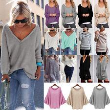 Oversize Damen Pullover Lang Bluse Pulli Strickjacke Mode Lose Baggy Sweater Top