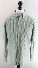 NAUTICA Mens Shirt L Large Green White Stripes Cotton