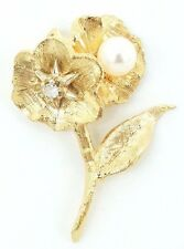 14k Solid Gold Diamond & Pearl Flower Pendant Floral Leaf Exquisite Design