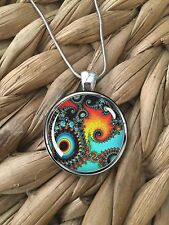 Colorful Fractal Design Aqua Black Gift Glass Pendant Silver Chain Necklace NEW