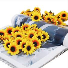 100pcs Lifelike Artificial Plastic Yellow Sunflower Head Home Party Decor DIY CN