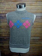 VTG 80's Cal Berkeley Preppy Argyle Grey Sleeveless Muscle Sweatshirt Shirt XS