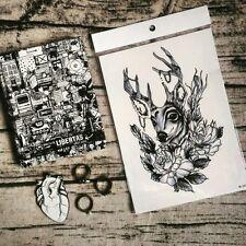 Deer in Flowers Roses Temporary Tattoo Stickers Body Art Waterproof Pearl