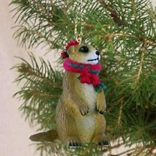 Prairie Dog with Red and Green Scarf Christmas Ornament, 2 Inches