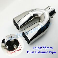 Universal 3 Inch 76mm Diameter Rear Muffler Exhaust Throat Tailpipe Silencer Tip