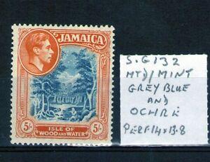 Jamaica 1938 5/- SG132 grey blue and Ochre 14x13.8 perf lightly hinged