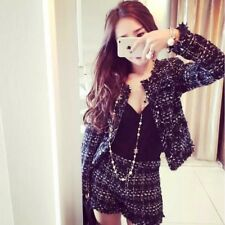 Fashion Trend Women Black Tweed Jacket + Bottom 2pc Suit