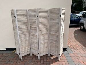 WOODEN SLAT ROOM DIVIDER HOME PRIVACY SCREEN PARTITION NATURAL 6 PANEL