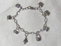 """Vintage 925 sterling silver charm bracelet 7"""""""
