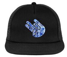 Shocker Drift JDM trucker hat,  snapback black w/ blue print