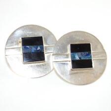 Great Falls Metal Works Sterling Silver GFMW Black Onyx Large Circle Earrings