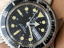 Vintage Elgin 20 ATM DH113-2879 Day-Date Divers Watch w/Pristine Dial FOR REPAIR