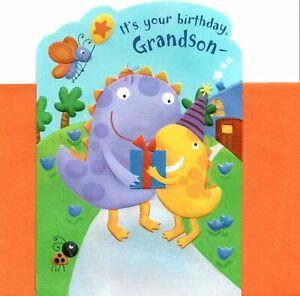 Happy Birthday Grandson Dinosaur Dinosaurs Stegosaurus Hallmark Greeting Card