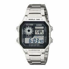 Orologio Originale Casio AE-1200WHD-1A Acciaio Crono Luce Ora Mondiale 100 Metri