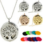 Tree Of Life Diffuser Locket Pendant Necklace Aromatherapy Essential Oil Perfume