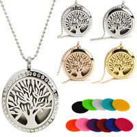 30mm Diffuser Locket Pendant Perfume Aromatherapy Essential Oil Chain Necklace