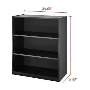 31 Tall Adjustable 3-Shelf Wood Bookcase Storage Shelving Book Wide Bookshelf