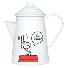 SNOOPY I'M AWAKE ENAMEL COFFEE POT RETRO KETTLE CHARLIE BROWN FILM CAMPING DOG