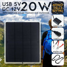 20W Mono Solar Panel USB 12V Charger Camping Car RV Boat Phone Battery Charger
