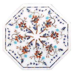 """14"""" Octagon Marble Coffee Table Top Peitra Dura Art Patio Table for Garden Decor"""