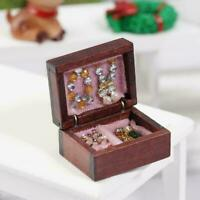 1:12 Puppenhaus Miniatur gefüllt aus Holz Schmuckschatulle Schlafzimmerzube Q1F5