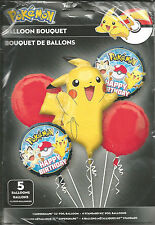 2 Packs Of Pokemon Birthday Party Balloon Bouquet 5 Pieces
