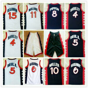 1996 USA Hakeem Olajuwon Hardaway Barkley Pippen Hill Malone Miller Jerseys Sewn