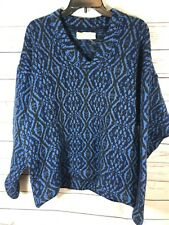 Vintage Original Iceland 100% Wool Sweater by Jersey Modeller Sz 6 Blue & Brown
