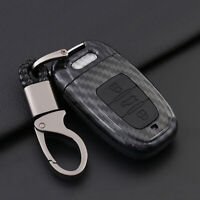 Carbon Fiber Shell+Silicone Cover Remote Key Holder Fob Case For Audi A8 A6 S5
