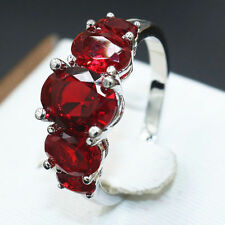 4CT 3 Stones Ruby Gemstone Ring Women 925 Silver Size 7 Wedding Engagement